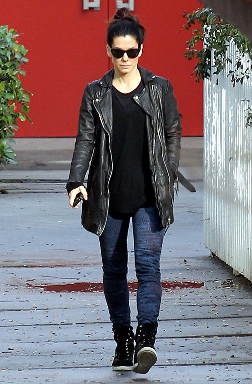 Sandra Bullock photos AllSaints Spitalfields leather jacket