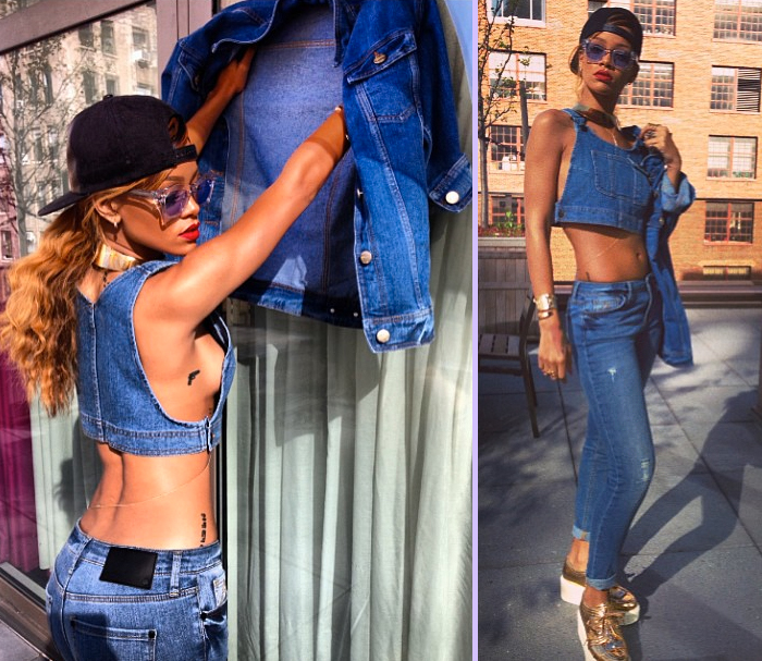 Rihanna denim River Island side boob photos