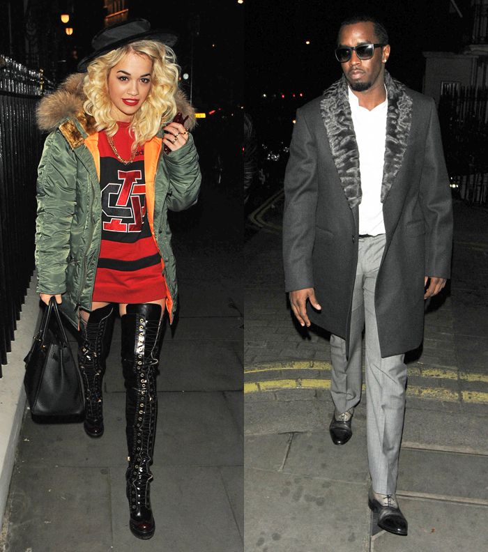 Rita Ora photos Diddy London Nobu fur trim